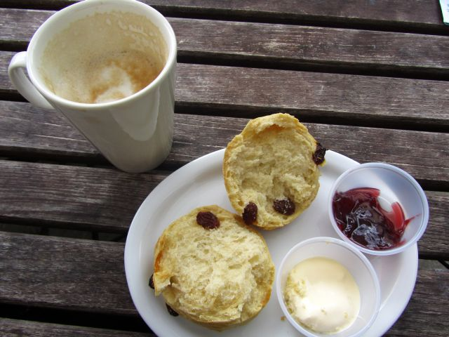 Coffee and a Scone with Jam and Clotted Cream