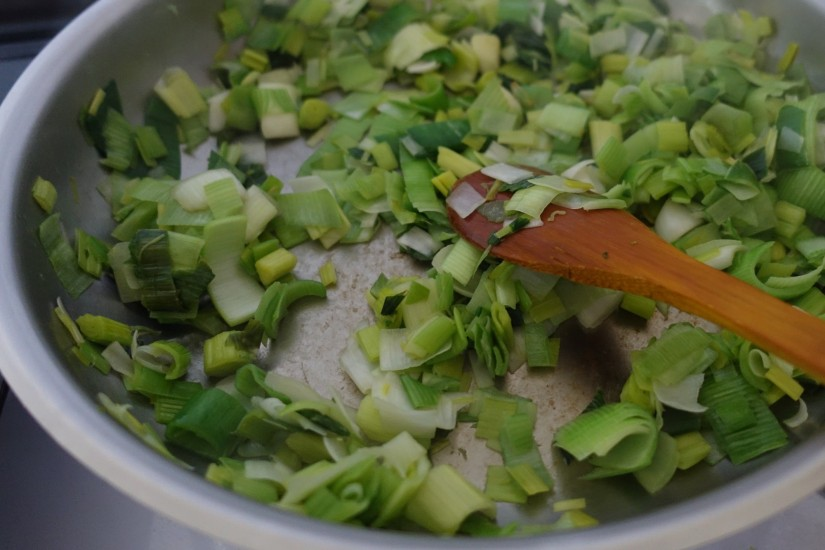 frying the leek