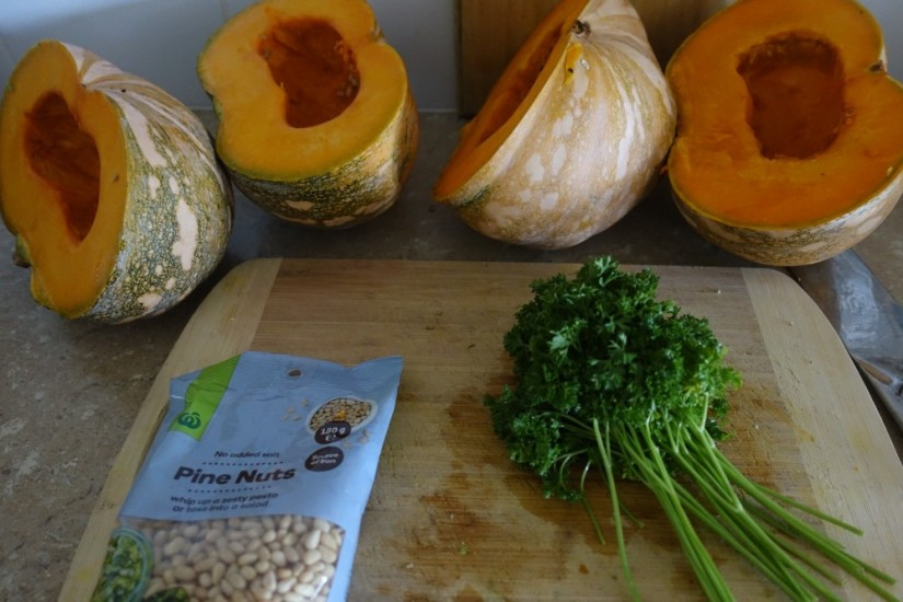 prepping stuffed squash recipe